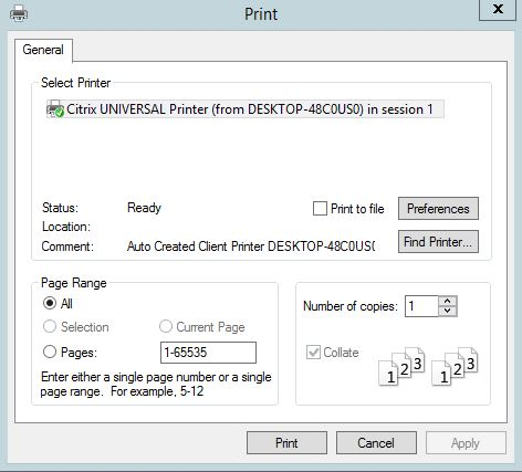 Citrix printing with Universal Print Server, Universal Print Driver
