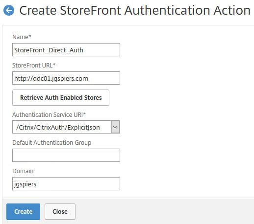 NetScaler Gateway authentication direct to StoreFront