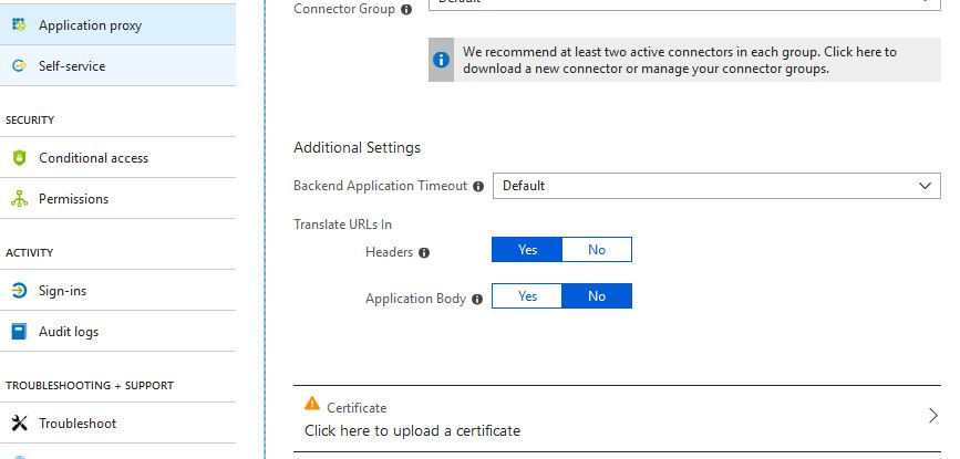 Azure AD Application Proxy – Access internal applications securely